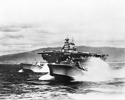 WWII Yorktown Class Carrier with PT Boats Photo Print