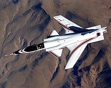 X-29 in Flight from above Photo Print for Sale