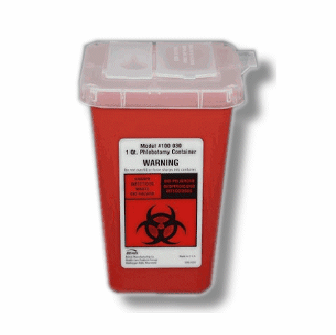 1 Quart Phlebotomy Container, Sharps Container, Case of 100, by Bemis