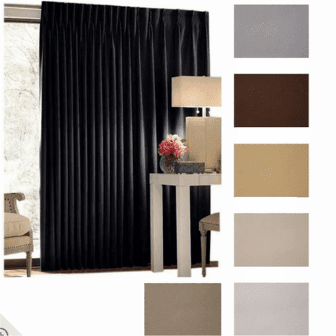 """132"""" Tall by 342"""" Wide Commercial Blackout Curtain, Choose Color"""