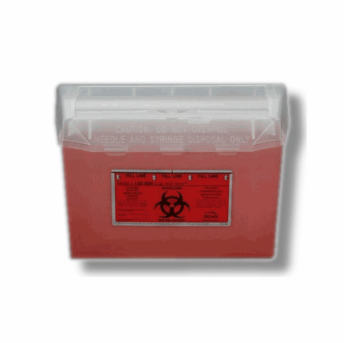 3 Quart Sharps Wall Safe Container, Case of 24, by Bemis