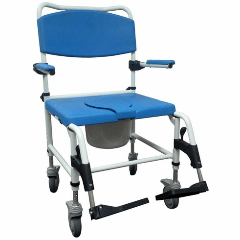 Drive Aluminum Bariatric Rehab Shower Commode Chair with Two Rear-Locking Casters