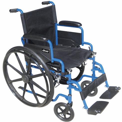 "Drive Blue Streak 18"" Wheelchair, Detachable Desk Arms & Footrest"