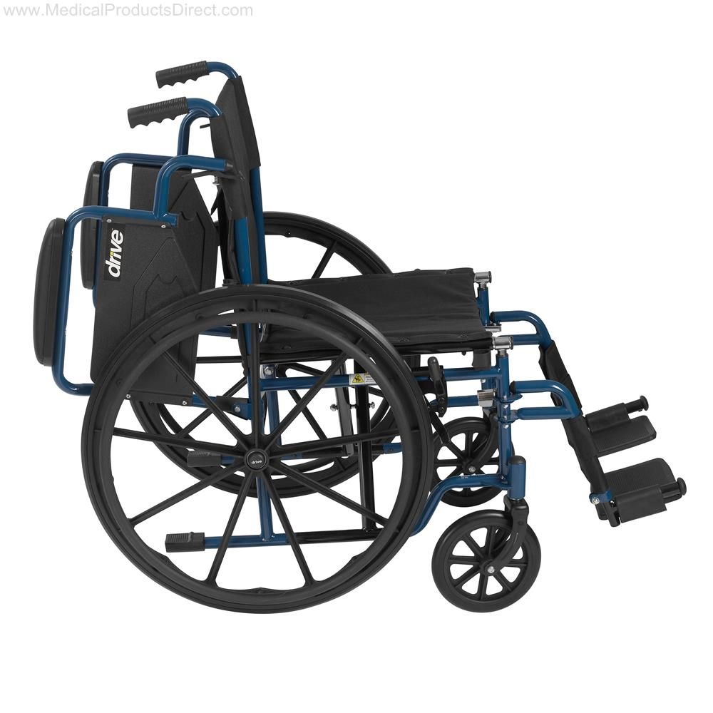 "Drive Blue Streak Wheelchair with Flip Back Desk Arms, Swing Away Footrests, 16"" Seat"