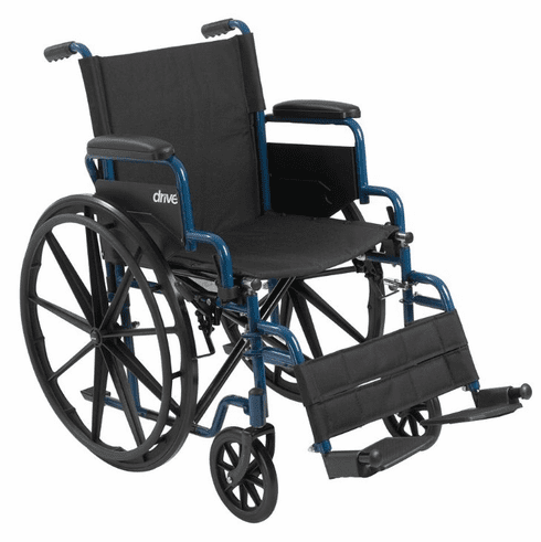 """Drive Blue Streak Wheelchair with Flip Back Desk Arms, Swing Away Footrests, 16"""" Seat"""