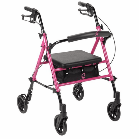 Drive Breast Cancer Awareness Adjustable Height Rollator, Pink