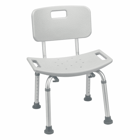 Drive Deluxe Aluminum Gray Bath Chair with Back 400 lb Capacity