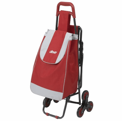 Drive Deluxe Rolling Shopping Cart with Seat, Red