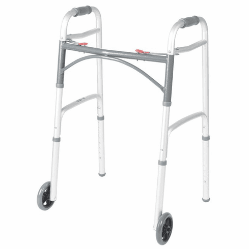 "Drive Deluxe Two Button Folding Walker with 5"" Wheels"