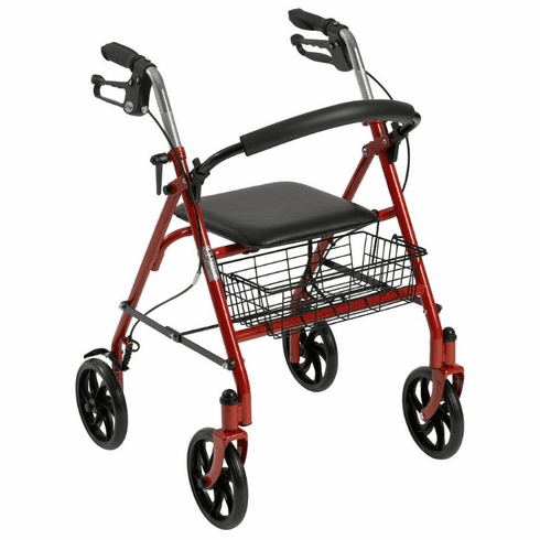 Drive Four Wheel Walker Rollator with Fold Up Removable Back Support, Red