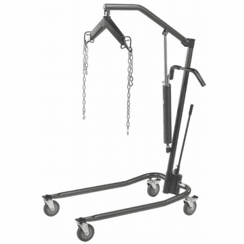 "Drive Hydraulic Patient Lift with Six Point Cradle, 5"" Casters, Silver Vein"