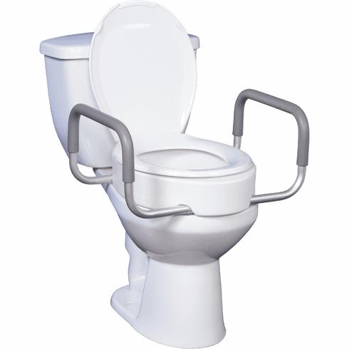Drive Premium Raised Toilet Seat Riser, Standard with Removable Arms, Round Bowl