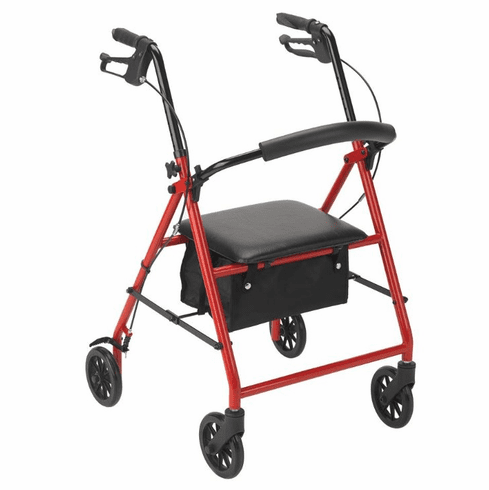 "Drive Rollator with 6"" Wheels, Red"