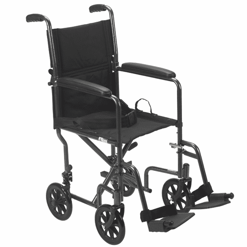 "Drive Wrangler Deluxe Silver Vein Steel Transport Chair 19"" Wide"