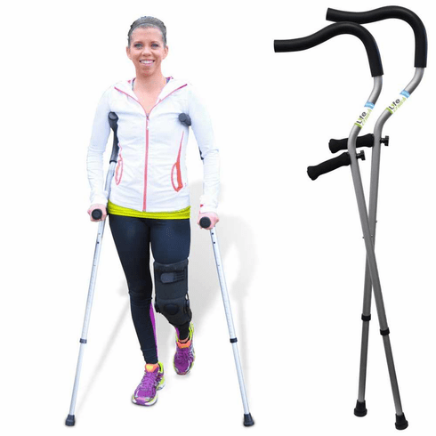 "LifeCrutch Ergonomic Short Term Universal Crutch Fits 4'6"" to 6'7"" height users, one pair."