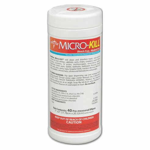 """Medline Micro-Kill Disinfectant Wipes AF, 7X8"""",40CT -12 Can / Case"""