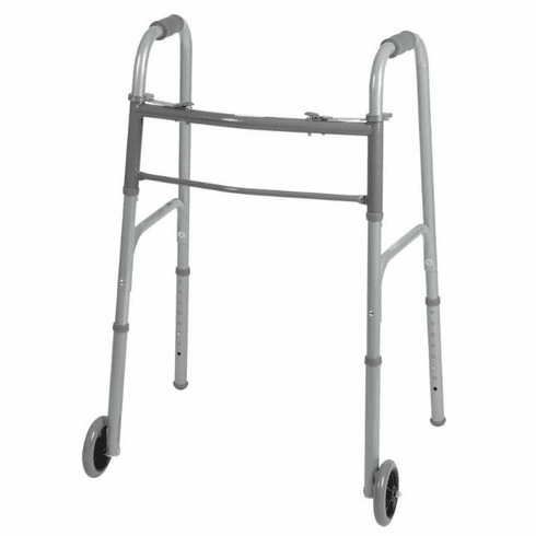 """Medline Two-Button Folding Walkers with 5"""" Wheels,5"""" 300lbs Cap -1 Each / Each"""