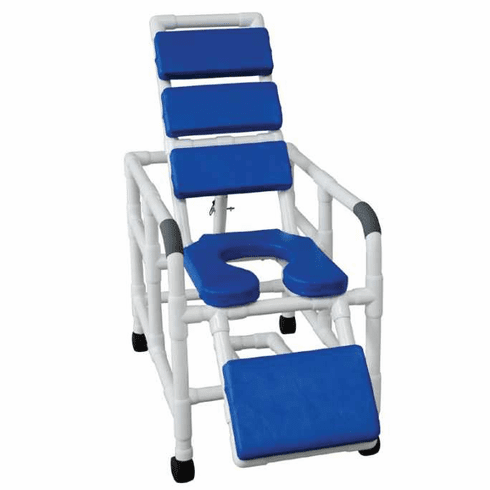 "MJM 20"" Reclining TOTAL Blue padding shower chair w/ open front soft seat & elevated leg extension, 325 lbs wt cap"