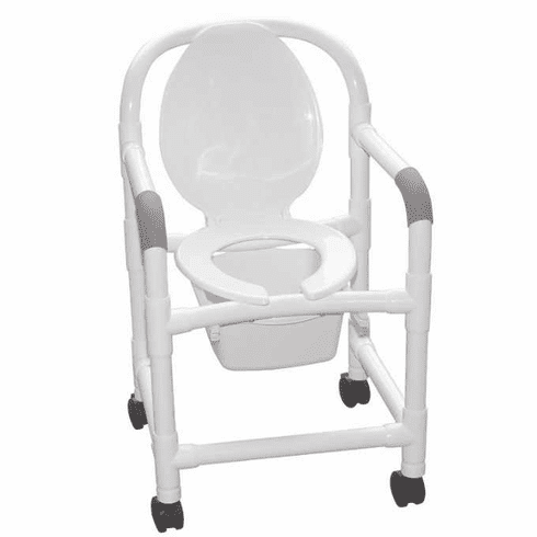 "MJM Bedside commode 18"" internal width w/standard casters & 10 qt. commode pail (no sling)"