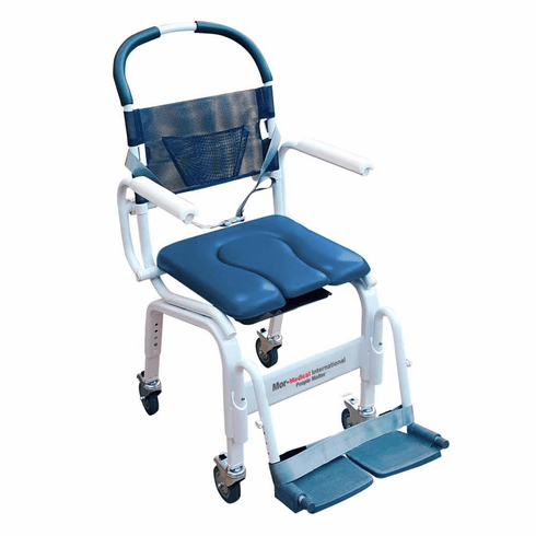 "Mor-Medical Euro Style Rehab Shower Chair Commode, Aluminum, 300lbs Cap., 18"" Internal Width"