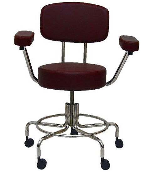 MRI Stool, MRI Adjustable Stool with 2 Dual Casters, Back and Armrests