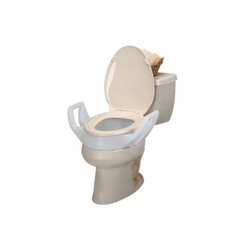 Raised Toilet Seat (Riser) with Arms - Standard, Round Bowl