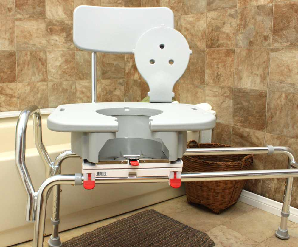 Sliding Transfer Bench Snap N Save Transfer Bench With Cut Out Swivel Seat