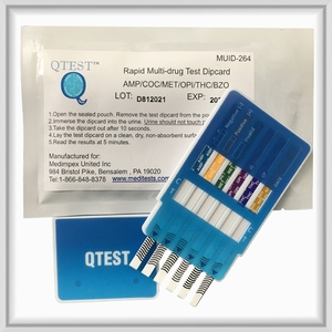 6 Panel Dip QTEST™  CLIA Waived  (AMP, BZO, COC, mAMP, OPI, THC)