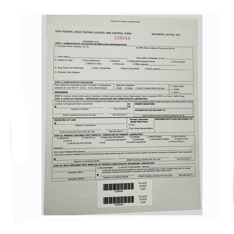 Non-Federal Drug Testing Chain of Custody Control Form by Medimpex