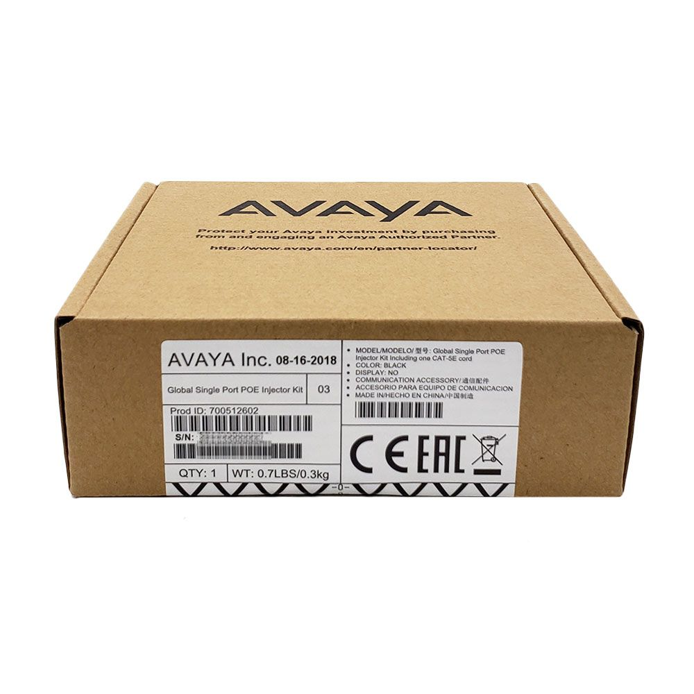 Avaya Global Single Port PoE Injector Kit GSPPOE (700512602)