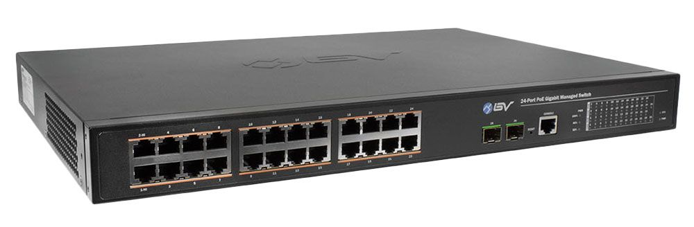 BV-Tech 24-Port Gigabit PoE+ Switch w/2 SFP Uplink Ports (POE-SW2402G-MG)