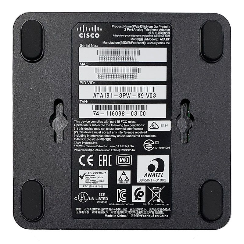 Cisco ATA191 Multiplatform Analog Terminal Adapter (ATA191-3PW-K9)