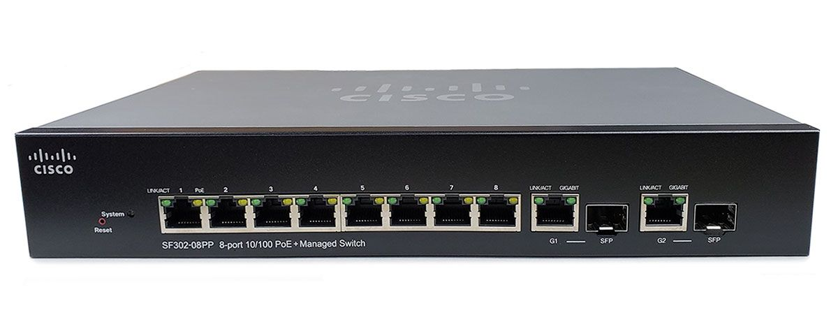 Cisco SF302-08PP 8-Port PoE+ Managed Switch (SF302-08PP-K9-NA)