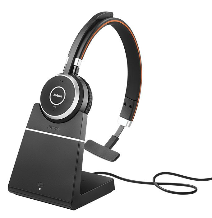 Jabra Evolve 65 UC Mono Wireless Headset w/Charging Stand (6593-823-499)