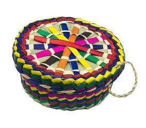Straw Tortilla Warmer Decorated Basquet with Lid Assorted Colors