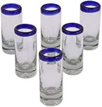 Mexican Hand Blown Tequila Shot Glass with Blue Trim (6 Pack)