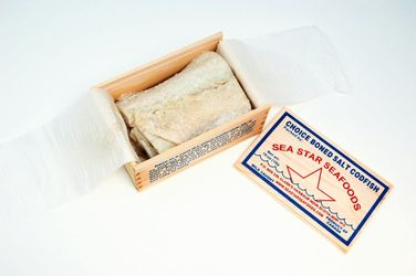 SEA STAR SEAFOODS Salted Cod Fillets Bacalao in a Wood Box