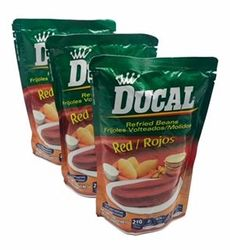 Ducal Refried Red Beans Pouch - Frijoles Volteados (Pack of 3)