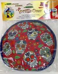 Day of the Dead Skulls by La Tortilla Oven Warmer Red