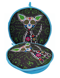 CHIHUAHUA - Day of the Dead - Tortilla Oven Fabric Warmer - 10 in