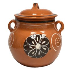 Lead Free Clay Bean Pot with Lid - Olla Floreada con Tapa Tonala