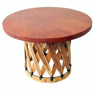 Round Table La Mesa.Mesa Equipal Redonda Round Table For Equipales By La Mexicana 47 D X 28 H47 D X 28 H