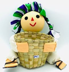 Mexican Handmade Queretana Doll with (BASKET)  Assorted Colors