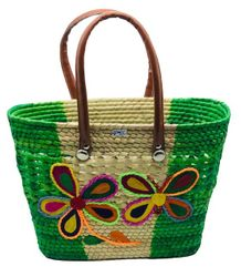 Mexican Tote Straw Bag Decorated Assorted Colors