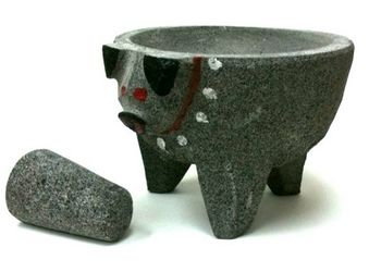 Molcajete Pig Head - Black Lava Stone Bowl