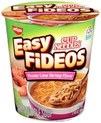 Nissin Cup Noodles Easy Fideos Picante Lime Shrimp Flavor (Pack of 6)