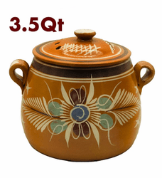Olla de Barro Frijolera sin Plomo / Lead Free Clay Bean Pot with lid Small