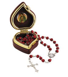 Our Lady of Guadalupe Rose Scented Rosary with Case