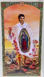 St. Juan Diego Holy Card  with Our Lady of Guadalupe - Estampa San Juan Diego