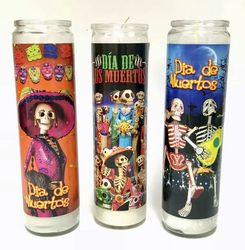 Assorted Day of the Dead Candles - Veladoras Dia de los Muertos (Pack of 3)